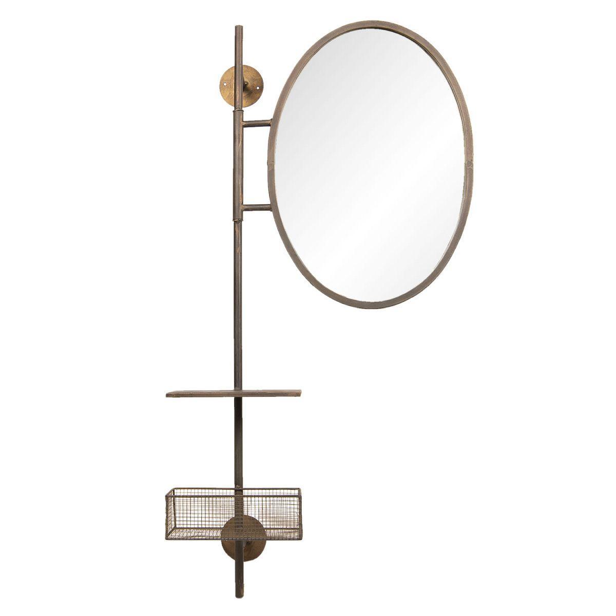 Nástěnné zrcadlo s poličkou a košíkem