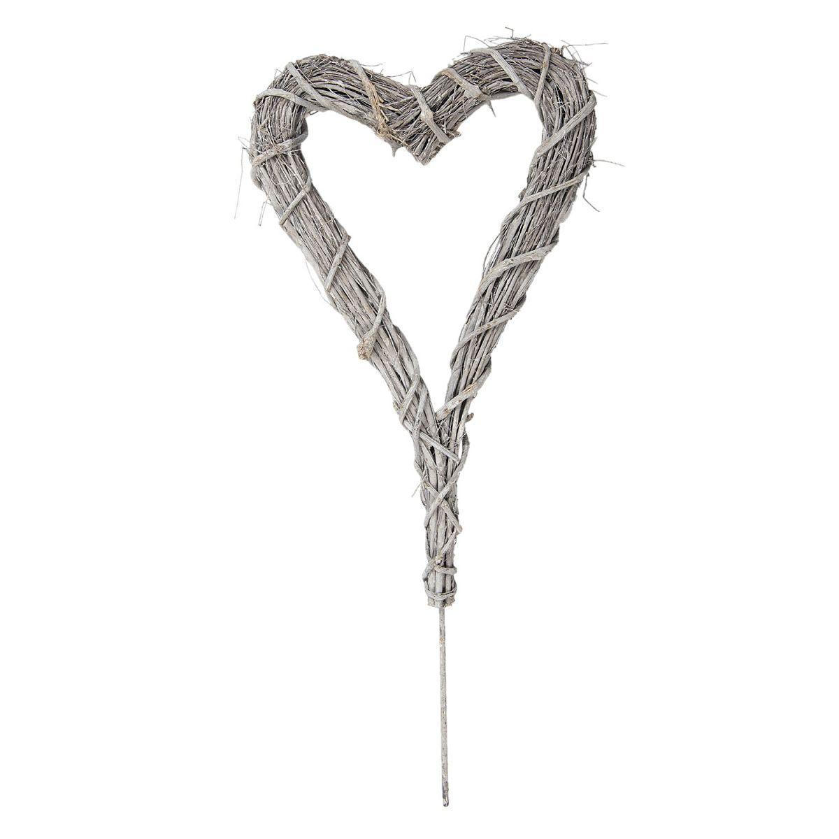 Dekorativní srdce z ratanu bílé