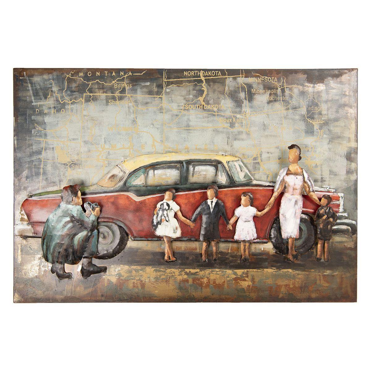 Kovový obraz CAR AND FAMILY