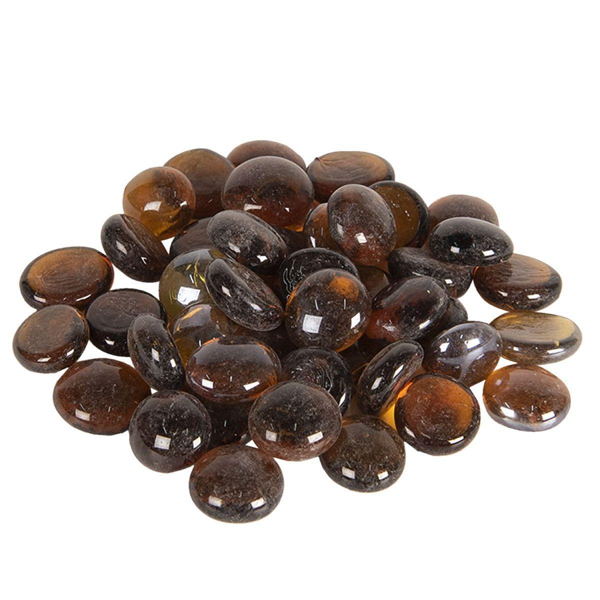 1- Dekorační skleněné kamínky hnědé