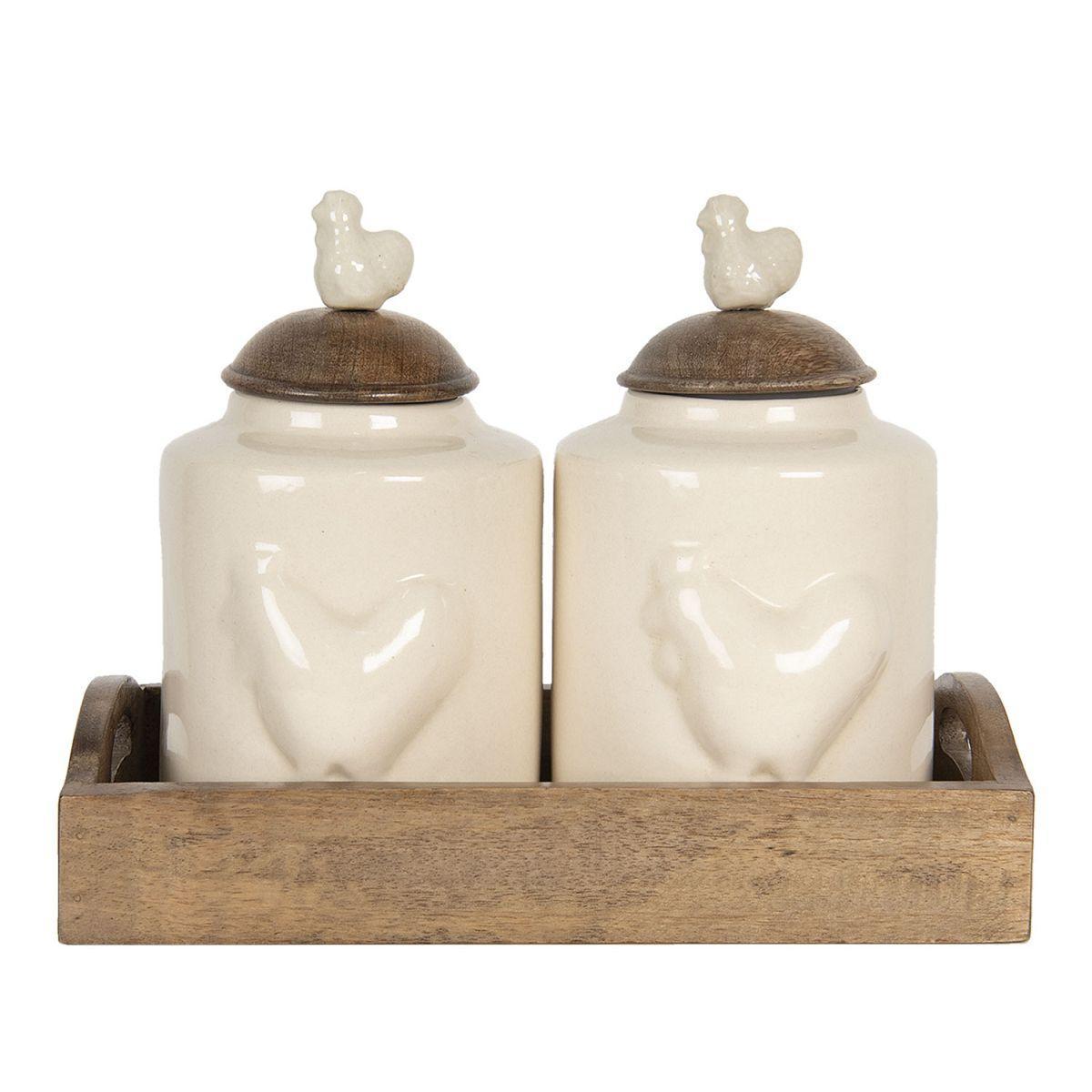 Dvě keramické dózy ROOSTER v dřevěném podnose