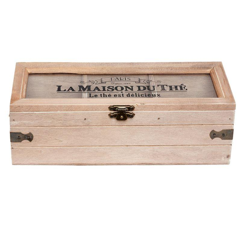 1- Dřevěná krabička na čajové sáčky