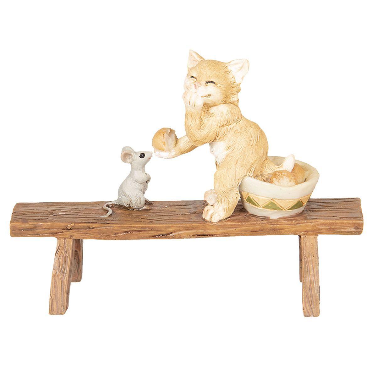 Kočka s myškou na lavičce