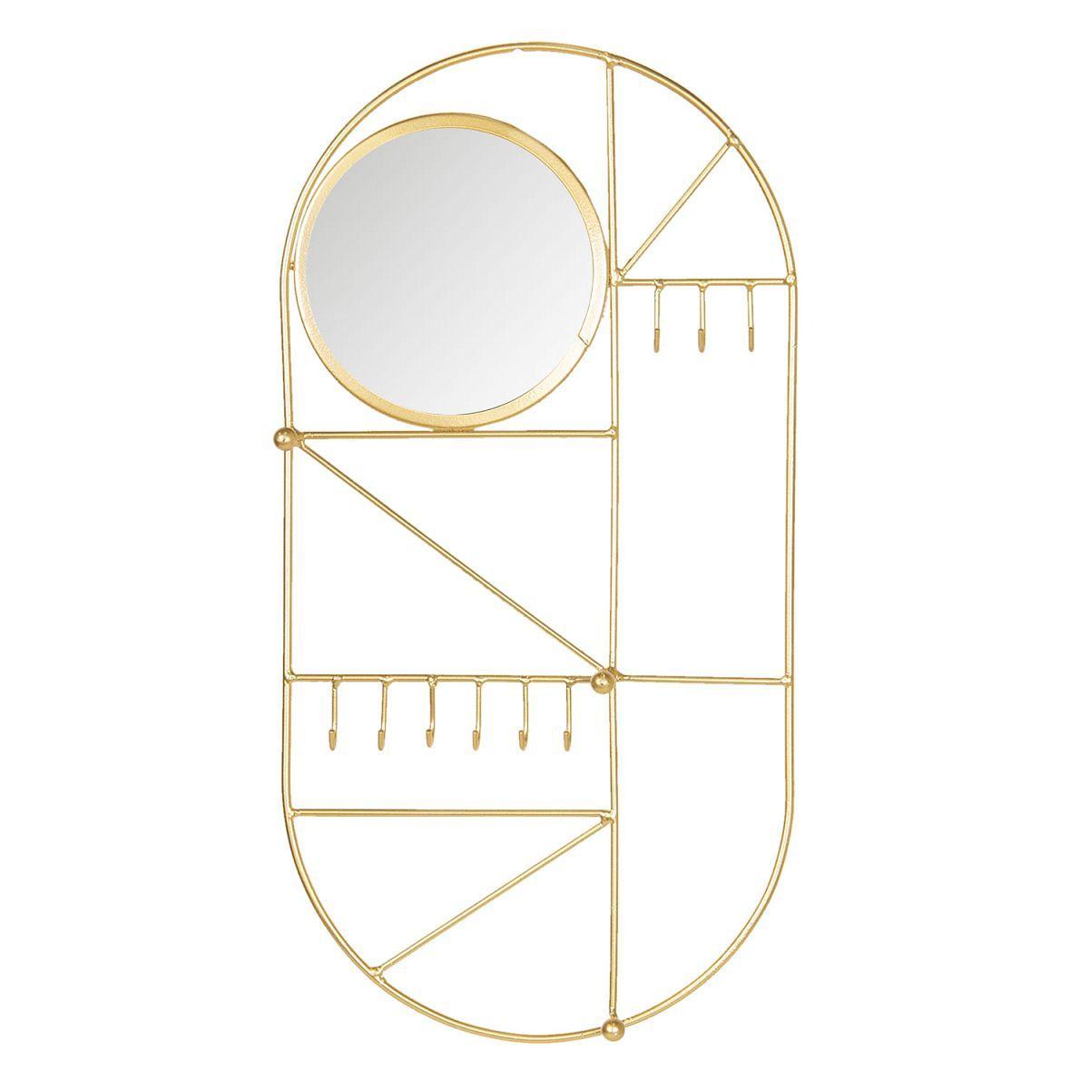 Nástěnný věšák na bižuterii se zrcadlem