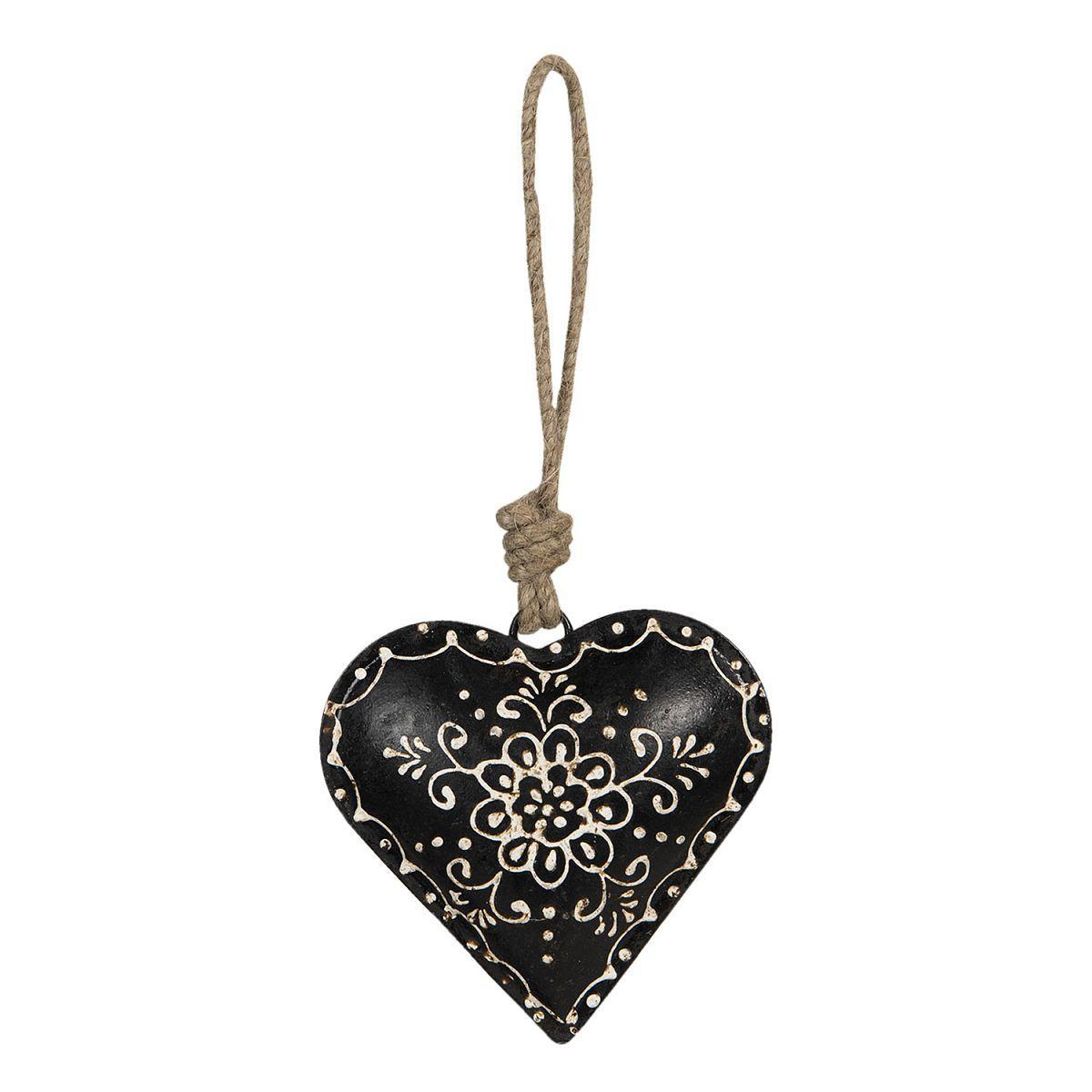 1- Srdce kovové černé velké