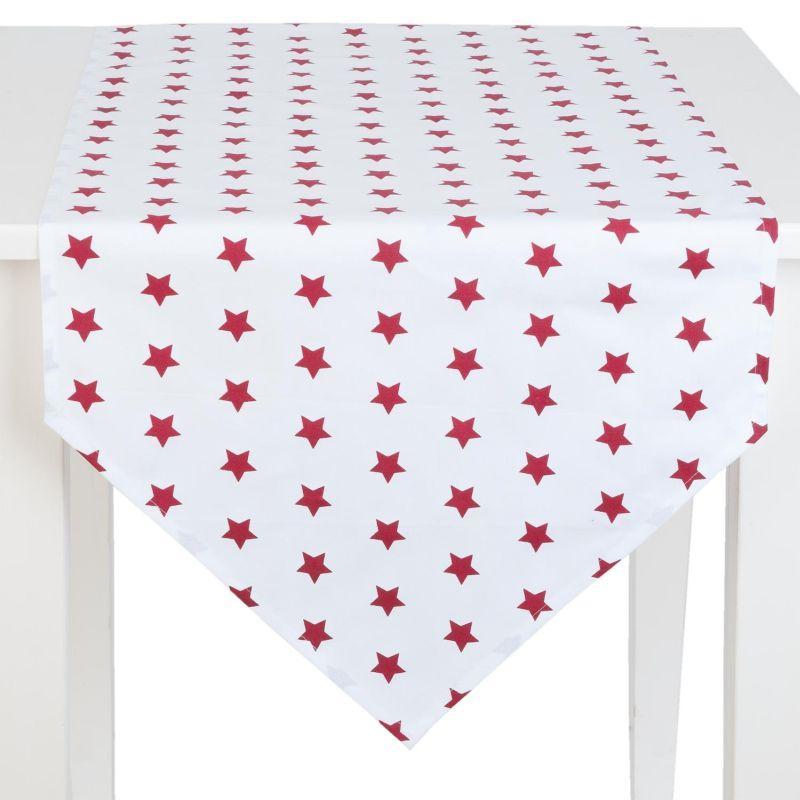 Běhoun na stůl CATCH A STAR red 50*160 cm