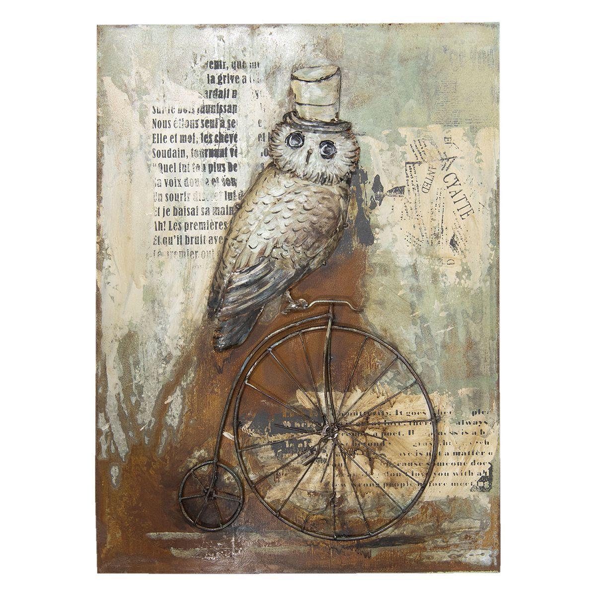 Kovový obraz OWL