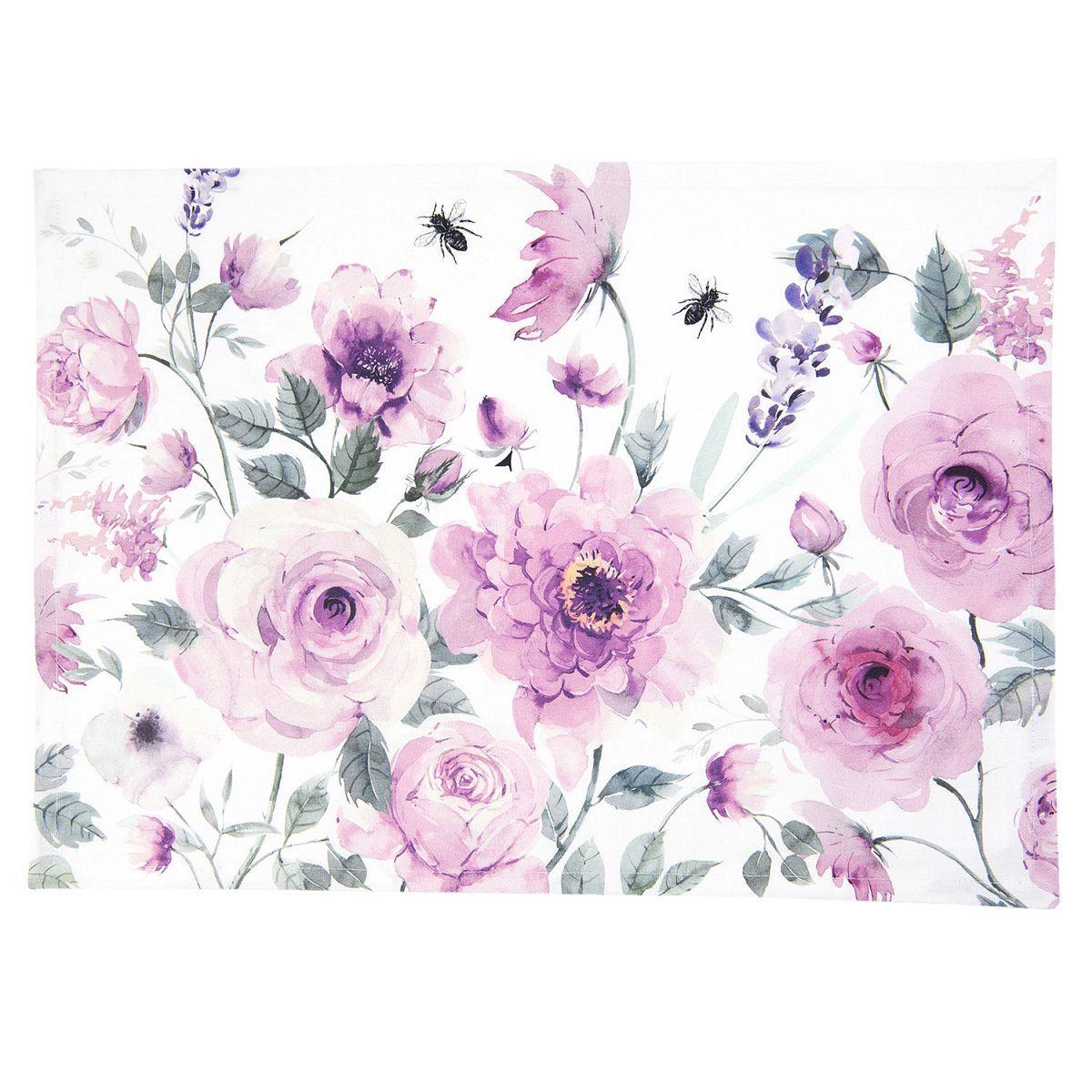 Textilní prostírání ROSES AND BUTTERFLIES 48*33 cm - sada 6 kusů